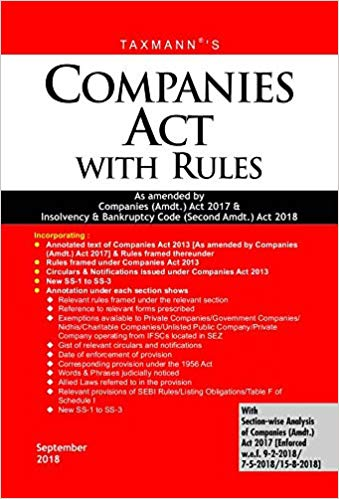 Companies Act with Rules-As Amended by Companies (Amdt.) Act 2017 & Insolvency & Bankruptcy Code (Second Amdt.) Act 2018 (Paperback Pocket Edition)