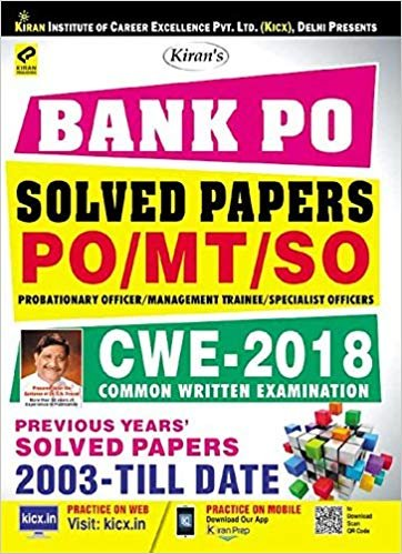 Kiran's Bank Po Solved Papers For PO/MT/SO Probationary Officer/Management Trainee/Specialist Officer Common Written Examination English medium english