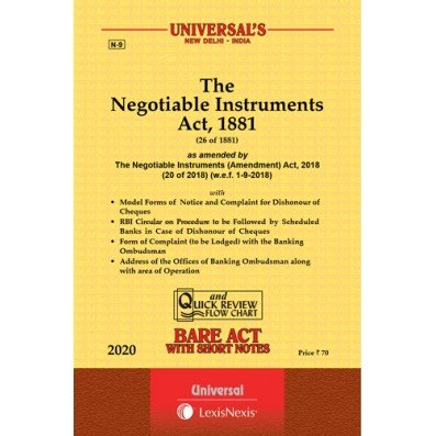 The Negotiable Instrument Act, 1881 Bare Act By Universal
