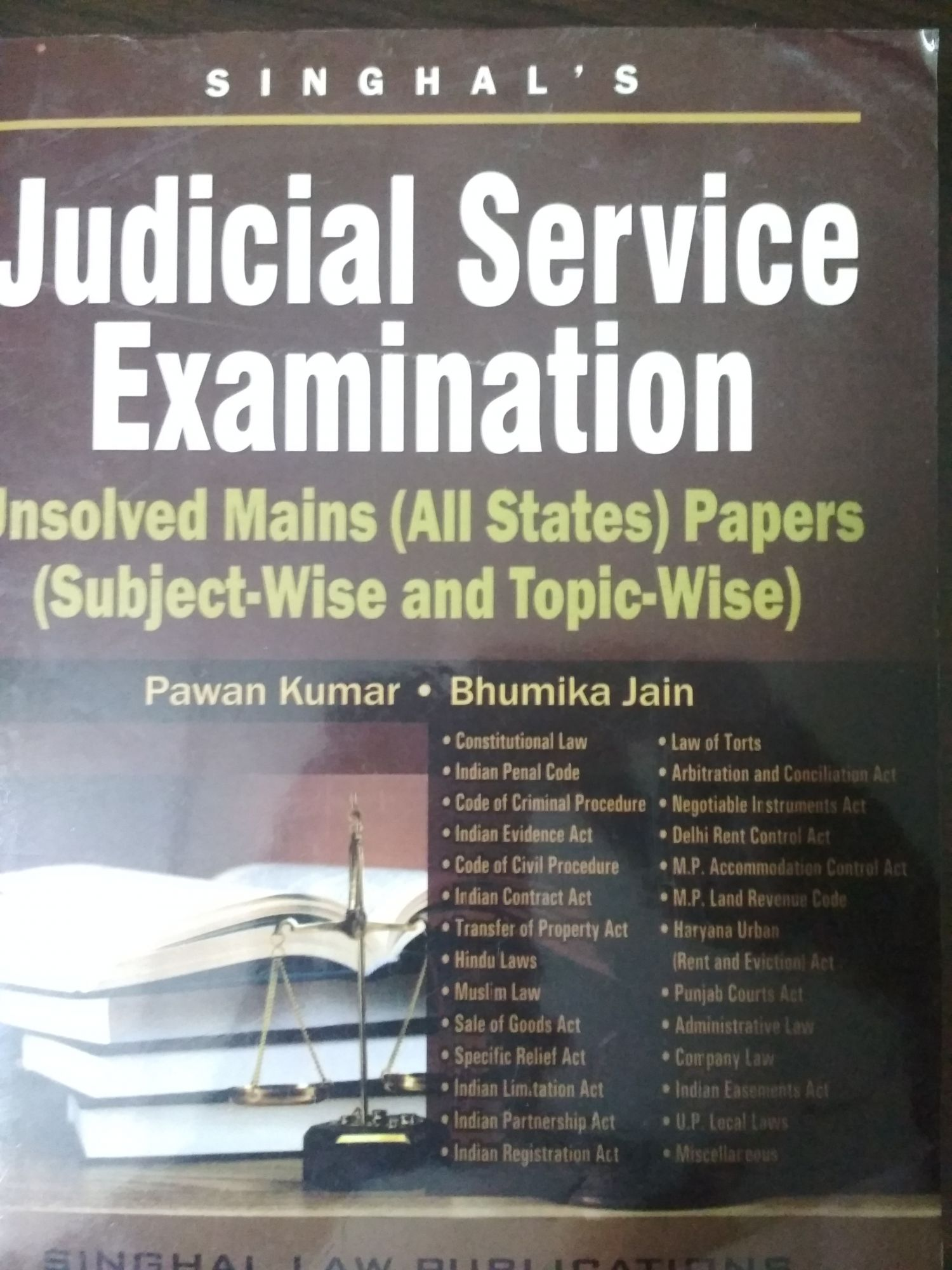 Singhal's Judicial Service Examination Unsolved Mains (All States) Papers